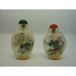 Coppia di snuff bottle (porta essenze) dipinte a amano